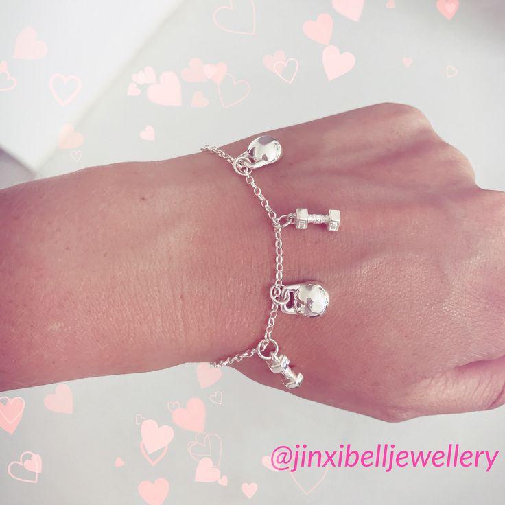Silver dumbbell & Kettlebell charm bracelet.   Sterling Silver.