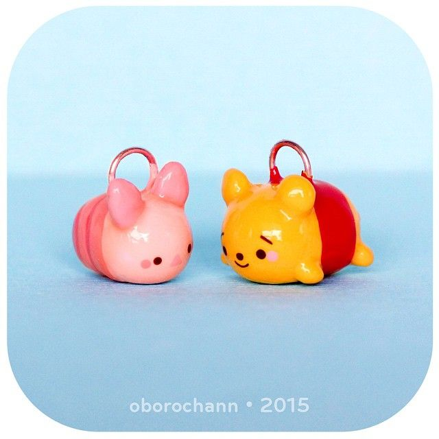 Polymer Clay Boron Bun Pooh & Piglet Disney Tsum Tsums by Oborochann