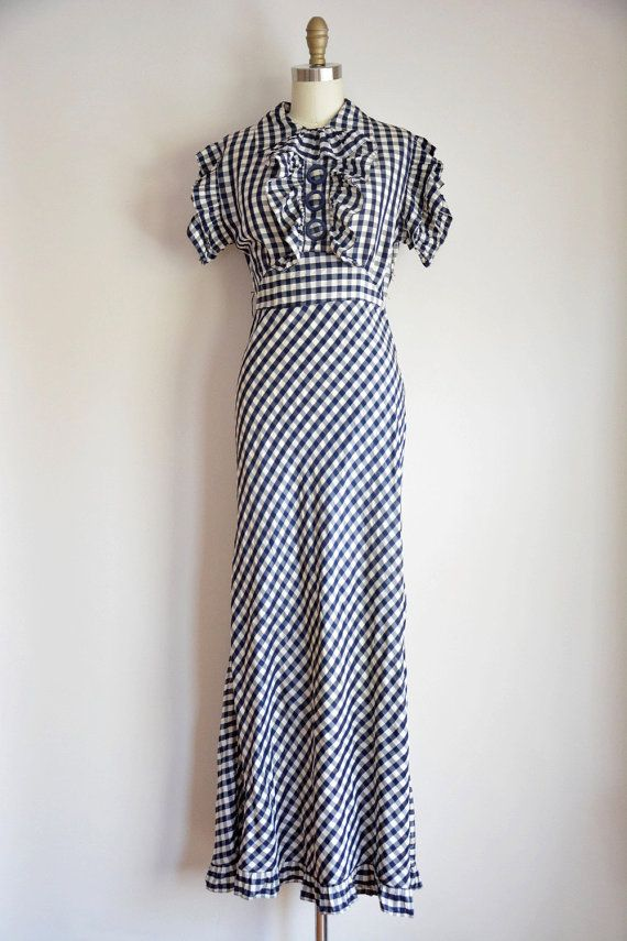 RESERVED / LAYAWAY 1930s Blue White gingham by VogueWanderlust