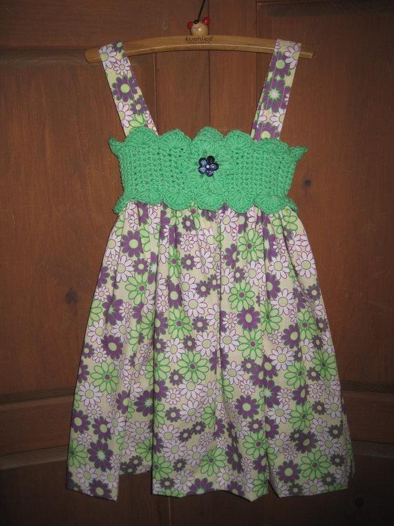 Jumper/Sundress GREEN n VIOLET FLOWERS, Crochet Bodice and Fabric Skirt