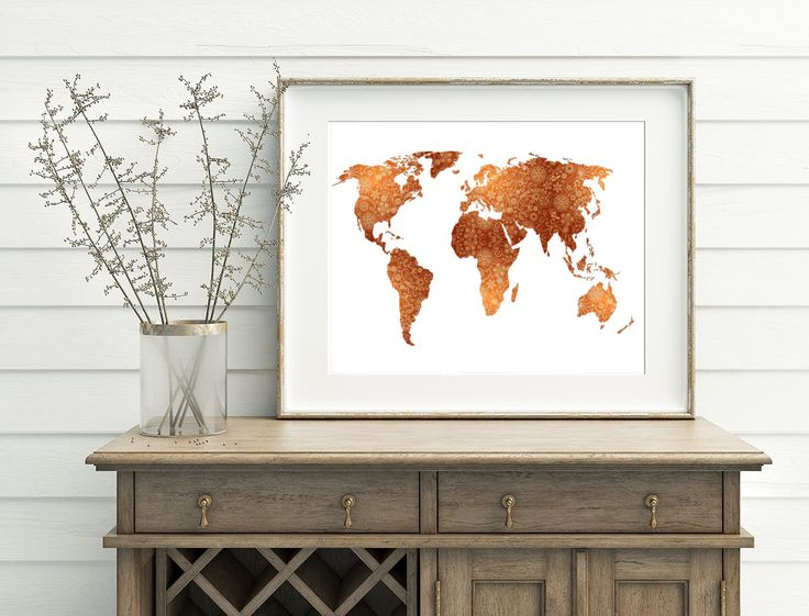Paisley World Map Art - Printable World Map, Digital World Map Art, Abstract World Art, Brown World Map, Instant File, Download Map Art by WatercolorArtHut on Etsy