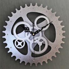 Saat Clock Gear Wall Clock Reloj Relogio de Parede Duvar Saati Horloge Murale reloj de pared Rivet Metal Clocks Home Decorations(China (Mainland))