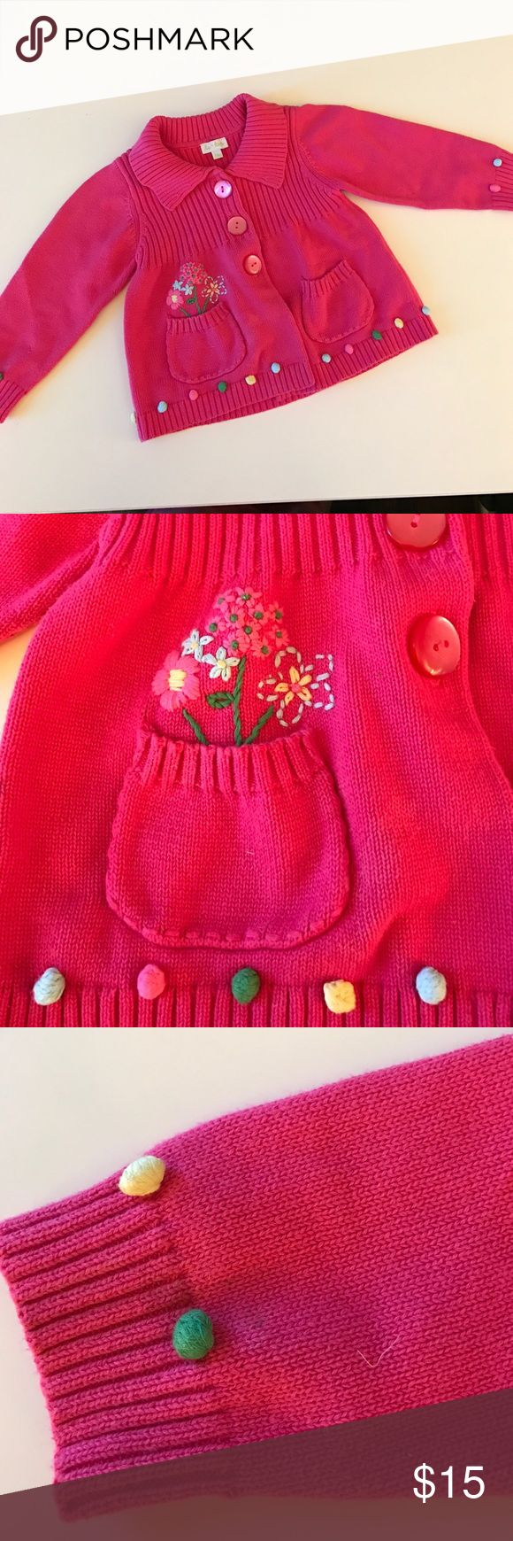 Le Top Hot Pink Sweater 24 mos w/ cute flowers 🌺🌺🌺🌺So Sweet. Little Girls in Pretty Pink Cardigans🌷🌷🌷. Le top is beautiful line of kids clothing sole in boutiques. Le Top Shirts & Tops Sweaters