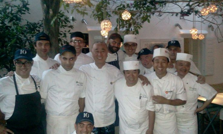 Matsuhisa Mykonos team with chef Nobu Matsuhisa - celebrating the 10 year anniversary of the restaurant! Photo credit: Tadashi Shiraishi via Facebook