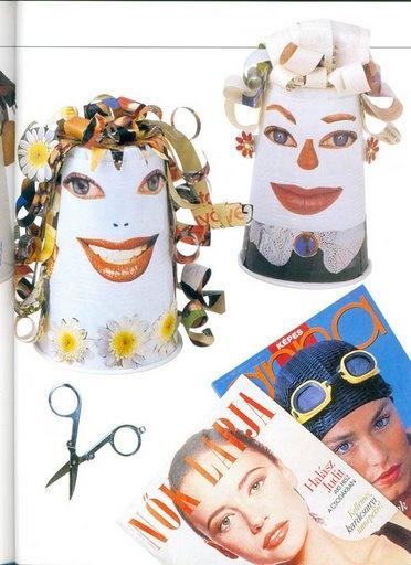 Papieren bekertjes ( of een in een kegelvorm opgerold stuk stevig papier)  worden gekke gezichten