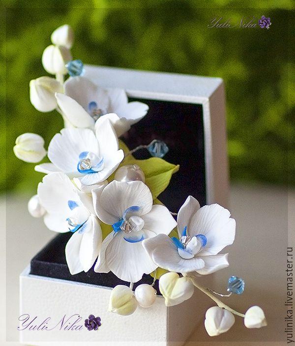Купить Орхидеи на гребне.Украшение для невесты - белый, синий, орхидея, фаленопсис, украшение в прическу