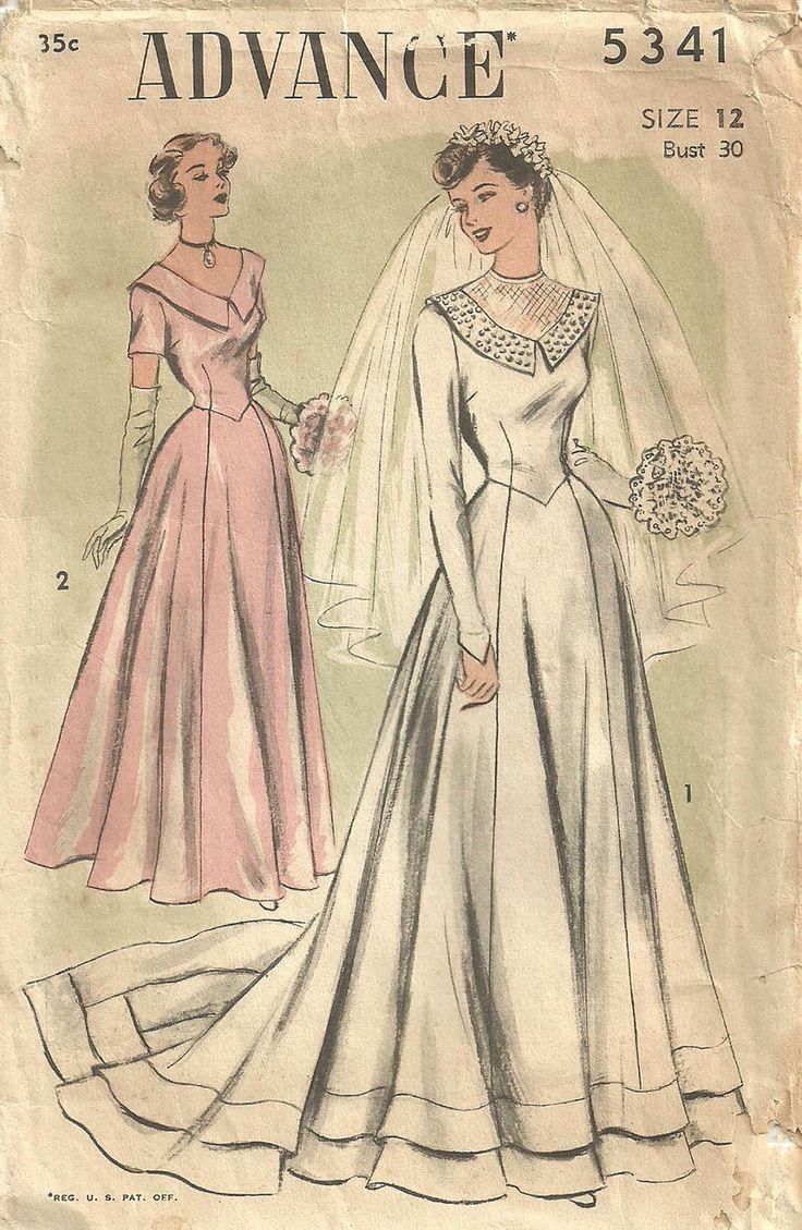 Avanzare 5341 / / Pattern di cucito Vintage anni 40 / nuziale abito da sposa abito Womans / / taglia 12 di studioGpatterns su Etsy https://www.etsy.com/it/listing/115147226/avanzare-5341-pattern-di-cucito-vintage