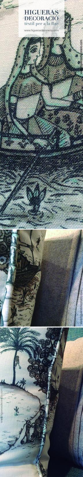#Cojin de tejido natural. #Cojin de lino rústico y elegante estampado. #Cojin con vivos. #Coixí de teixit natural. #Coixí de lli rústic i elegant estampat. www.higuerasdecoracio.com