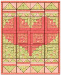 New view of log cabin quilt pattern