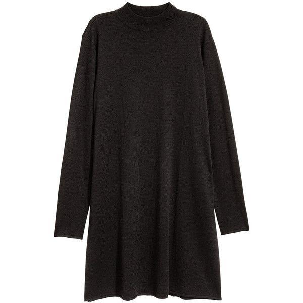Fine-knit dress $39.99 (130 BRL) ❤ liked on Polyvore featuring dresses, h&m, mini dress, wool dresses, short dresses, long sleeve turtleneck and long sleeve short dress