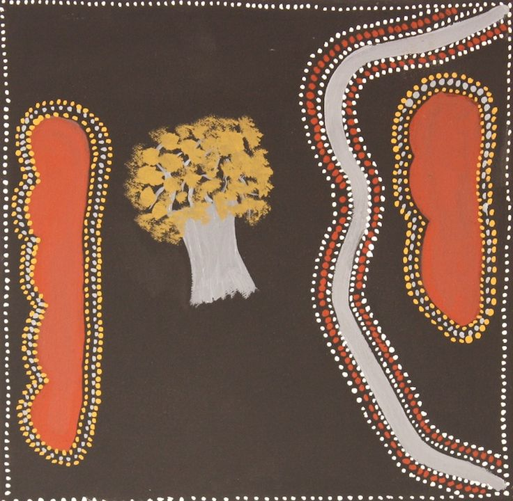 Dora Griffiths - 'When my dad was a young boy', 2013 - 25 x 25 cm - Natural ochre and pigment on canvas - Ref. 442713 - IDAIA - International Development of Australian Indigenous Art © The Artists - Photos Courtesy of Waringarri Aboriginal Arts