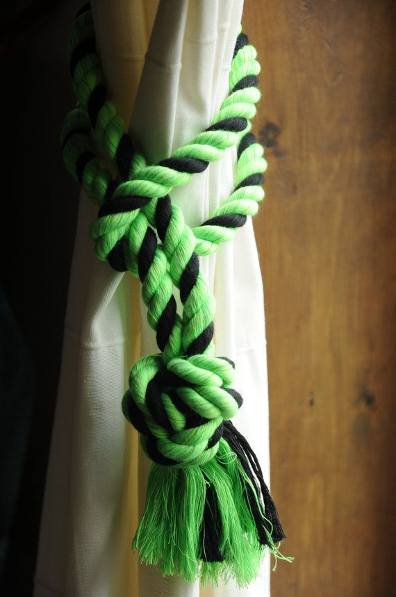 Nautical Decor  Lime Green and Black Curtain Tiebacks  by OYKNOT