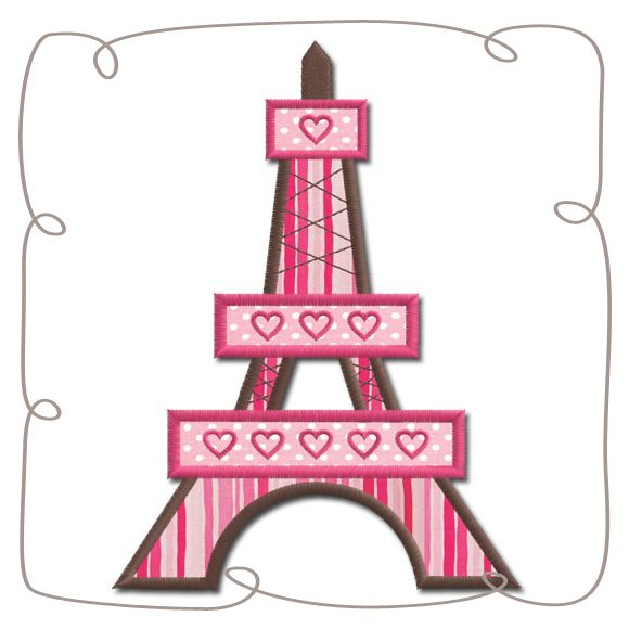 Eiffel Tower Applique Machine Embroidery Design pattern-INSTANT DOWNLOAD