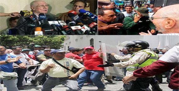 """La rueda de prensa convocada por los exministros de Chávez, Héctor Navarro y Jorge Giordadi, para hablar de los errores del Gobierno, fue interrumpida por un grupo que se identificó como """"colectivo..."""