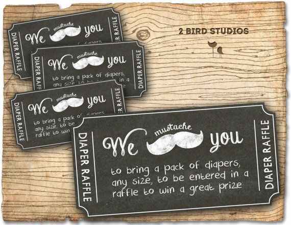 mustache diaper raffle ticket - diaper raffle insert to match mustache baby shower invitation - DIY printable chalkboard