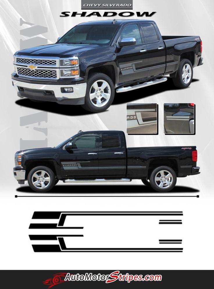 2014-2016 Chevy Silverado Shadow Lower Truck Door Vinyl Graphics Stripes 3M Decal Kit
