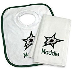 Designs by Chad and Jake Baby Personalized Dallas Stars Bib and Burp Cloth Set One Size White