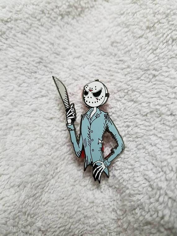 1.75 tall double back posted hard enamel pin of Jack n Jason. Art by Ludvig Von Bacon (@lvb_art). Limited edition of 125 pins.
