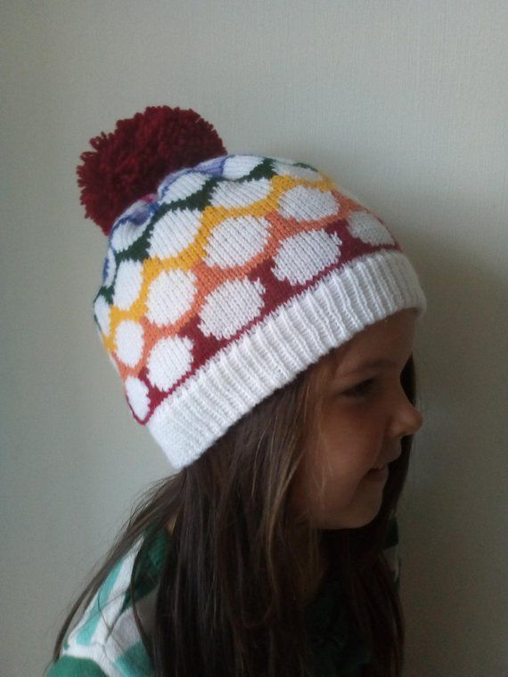 1b39b411560 Girls Spotty Rainbow Knitted Pom Pom Hat