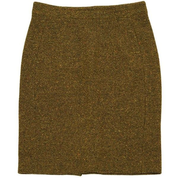 Pre-owned Burberry Wool Mid-Length Skirt (17640 RSD) ❤ liked on Polyvore featuring skirts, khaki, women clothing skirts, burberry, zip back pencil skirt, khaki pencil skirts, wool pencil skirt and brown wool skirt
