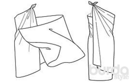 ПЛАТЬЕ (вариант 1) Парео уложить поперек лопаток. Правый конец под правой рукой вытянуть вперед к левому плечу и придержать (рисунок слева). Левый конец вытянуть вперед под левой рукой, затем протянуть назад под правой рукой. Оба конца завязать узлом на левом плече (рисунок справа, вид сзади).