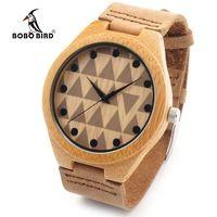 Bobo bird rt0450 влюбленных дизайн бренда роскошный деревянный бамбука часы с натуральная Кожа Кварцевые Часы Для Женщин Мужчин в Подарочной Коро...