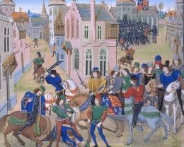 Wat Tyler, leader of the Peasants Revolt of 1381, killed at Smithfield by the Mayor of London, William Walworth