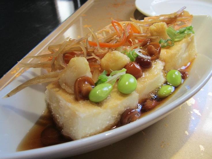 KAMEI KISS package!  Healthy Agedashi Tofu, topped with kinpira, nameko mushrooms, edamame beans, and lotus root    www.vaneats.ca