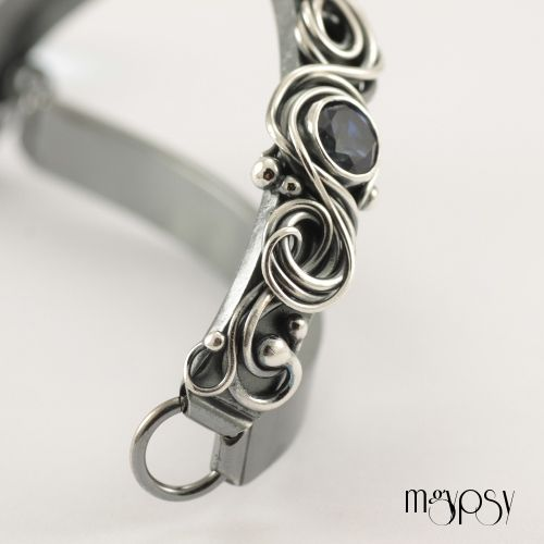 Blue Abyss - Swiss, London Blue Topaz Organic Bracelet, silversmithed, handmade, sterling silver, fine silver.