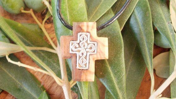 Small hand carved Greek Olive Wood cross by ellenisworkshop, $34.00