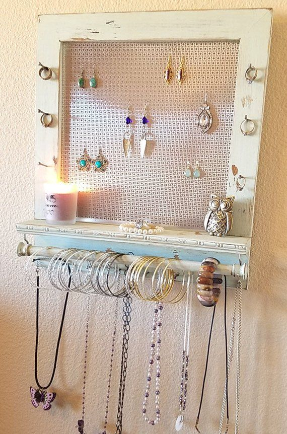 You Can Pick Your Color, Distressed Jewelry Organizer, Jewelry Display, Wall Organizer, Necklace Holder, Earring Organizer