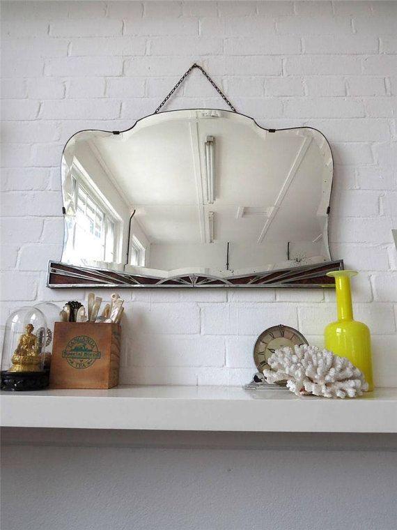 Gran Vintage Art Deco biselado espejo de la pared del por uulipolli