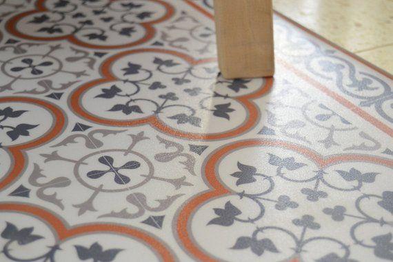 Pvc Vinyl Mat Oriental Tiles Pattern Decorative Linoleum Rug Custom Size Kitchen Mat Livingroom Decor Orange And Gray 179 Tile Patterns Vinyl Floor Mat Linoleum Flooring