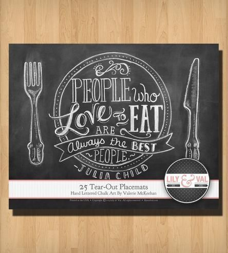 "25 Tear-Out ""Cooking is Like Love"" Chalk Art Placemats #luvocracy #placemat #graphicdesign"