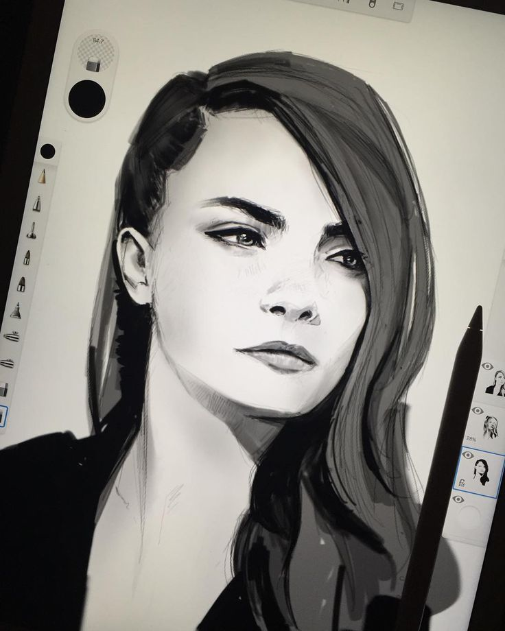 The whole drawing of Cara in sketchbook pro. Procreate tests next #arthabit by maciejkuciara