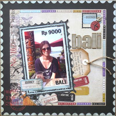 Bali scrapbook layout by Marelize from Perth, Western Australia, who says: I've used the Kaisercraft 'Check In' collection. It's a gorgeous range suited for all your travel photos. The photo is of my DD while on holiday in Bali during early December 2012. My main focus was to try and convert the photo into a postage stamp, therefor the money value near the top of the photo. #scrapbooking