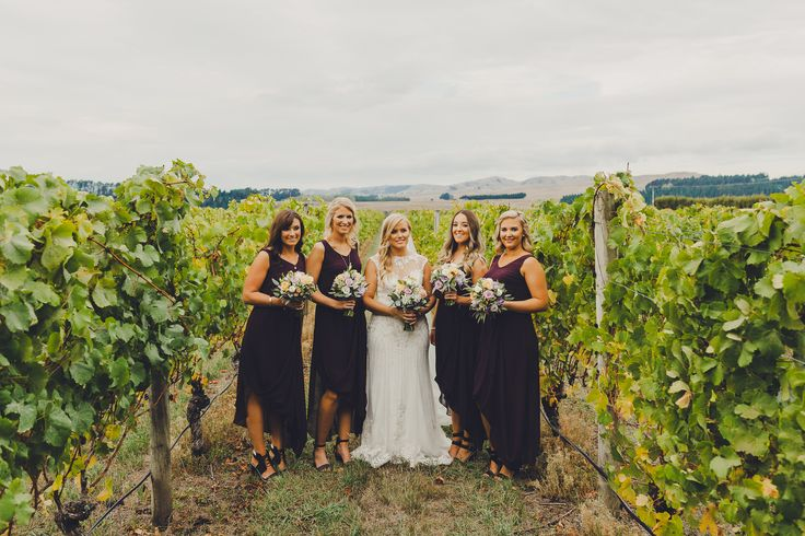 Rachels Gorgeous bridesmaids in their custom dresses by Sally Eagle #bridesmaids #plum #bridesmaidsdresses #wedding #nzdesigner Photo Credit: Patina Photography