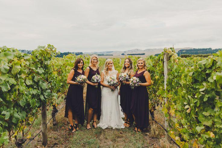 Rachels Gorgeous bridesmaids in their custom dresses by Sally Eagle #bridesmaids #plum #bridesmaidsdresses #wedding #nzdesigner Photo Credit: Patina Photography