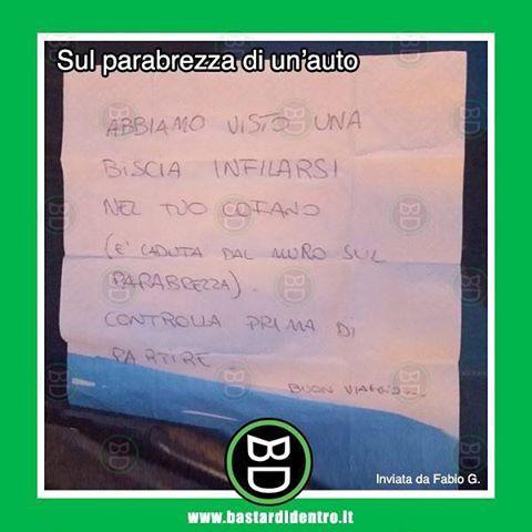 #scherzi malvagi. #bastardidentro #auto #serpente #biscia #foglietto #bigliettino www.bastardidentro.it