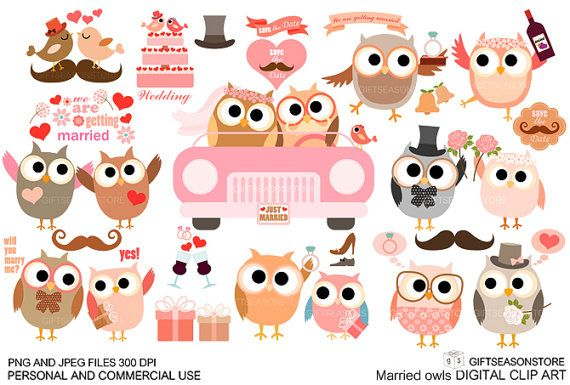 Married owl Digital clip art for Personal and by Giftseasonstore, $2.00