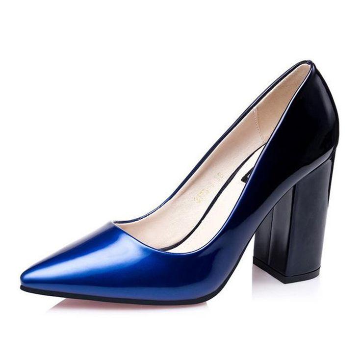 2016 Donne Pompano Le scarpe vino rosso Carriera Punta a punta tacchi alti Donne Scarpe Da Lavoro Viola, blu di Spessore con inferno scarpa(China (Mainland))