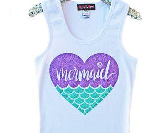 Mermaid Shirt Girls Sparkle Shirt Girls Glitter Shirt by madgrrl