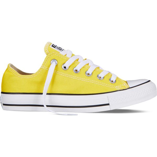 Converse Chuck Taylor All Star Fresh Colors – yellow Sneakers ($40) ❤ liked on Polyvore featuring shoes, sneakers, converse, sapatos, yellow, star shoes, low profile sneakers, converse trainers, low profile shoes and yellow sneakers