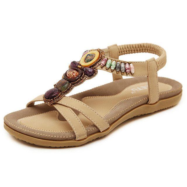 DQQ Damen Bohemian Elastic Ankle Strap Sandale, Beige - Aprikose - Größe: 41