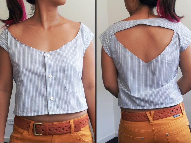 cut out shirt refashioned from mens dress shirt