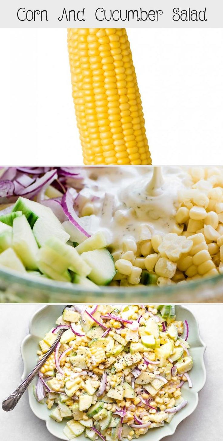 Corn and Cucumber Salad is a classic summer side that goes well with anything off the grill, and makes a nice change from coleslaw and potato salad. #easy #recipe #healthy #creamy #summer #mayo #buttermilk #dill #potluck #sidedish #summer #bbq #Springsaladrecipes #Beansaladrecipes #Summersaladrecipes #Choppedsaladrecipes #Tacosaladrecipes