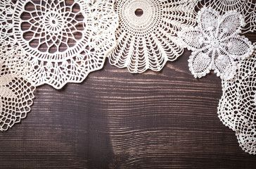 Vintage background with white crochet lace