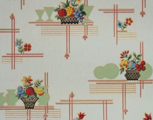1930s Vintage Wallpaper by the Yard - Floral Wallpaper with Pink ...