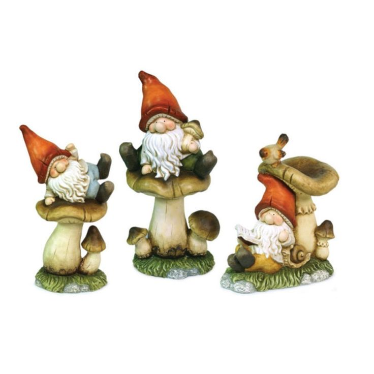 Set of 3 Meadow's Dream Whimsical Garden Gnomes with Mushrooms Outdoor Statues, Blue