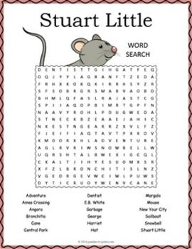 The kids and you will enjoy taking a break with this word search puzzle based on the book Stuart Little by E.B. White.  They will have to look in all directions to find the 18 hidden words, including diagonally and backwards. Use this activity as a supplemental worksheet when reading Stuart Little.